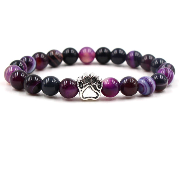 8mm Colourful Natural Stone Beads Bracelets Paw Print - 7 colours available