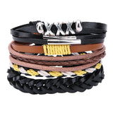 Men's leather bracelets - lace up, braid style with adjustable length