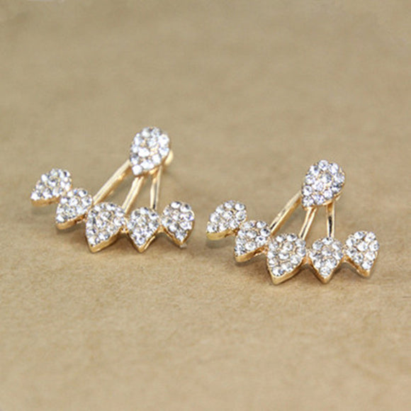 Crystal Front Double Sided Stud Earrings