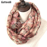 Guttavalli Hot Warm Women Flowers Loop Scarf Female Small Rose Print Chevron Ring Scarves Winter Plant Infinity Shawl Soft Wraps