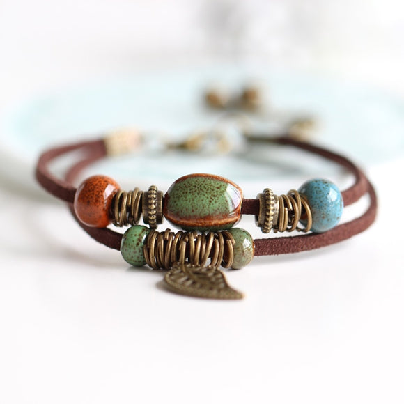Ceramic bead leather bracelet with leaf