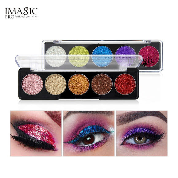 IMAGIC  Glitters Eyeshadow Cosmetic Pressed Eyeshadow Diamond Rainbow Make Up  Pressed Glitters Eye shadow Palette 5 Color