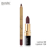IMAGIC New 2Pcs Easy Waterproof  Makeup  Lipliner Pencil  Matte Lipstick  Makeup Set