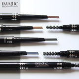 IMAGIC Professional Waterproof Eyebrow Pencil with Brush Twin Head Rotating Automatic triangle Eyebrow Pencil