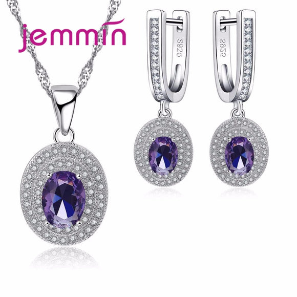 Jemmin Luxury  Purple Austrian Crystal Statement Necklace Earring Set