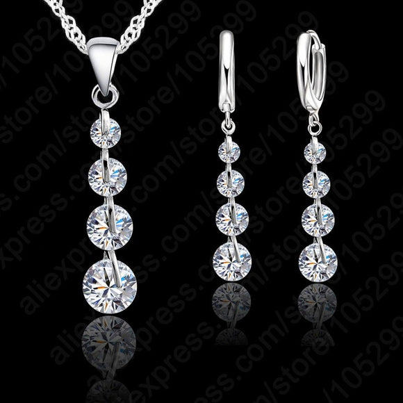 Jemmin Romantic Link Chain Crystal Pendant Necklace Jewelry Set