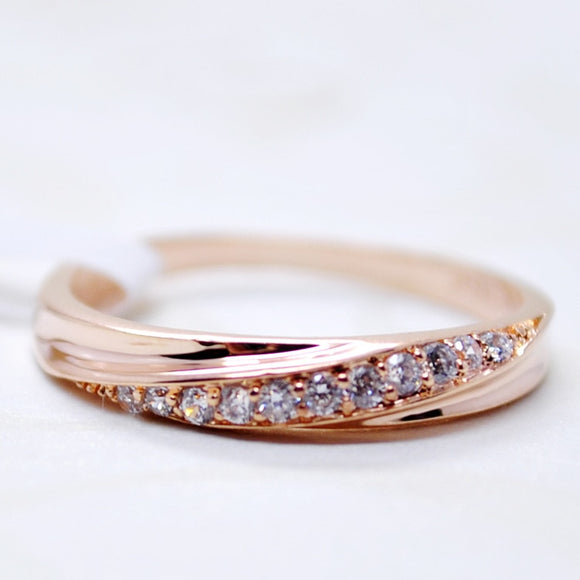 Simple cubic zirconia ring - rose gold and silver colours in various sizes
