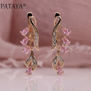 Rose Gold Multi Colour Water Drop Earrings Natural Zircon