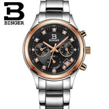 Switzerland Binger Women's watches luxury quartz waterproof clock full stainless steel Chronograph Female Wristwatches BG6019-W2