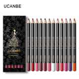 UCANBE Brand 12 Colors New Lip Liner Pencil Makeup Set Kit Natural Waterproof Long Lasting Lipliner Pen Make Up Cosmetics Tools