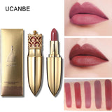 UCANBE Brand Crown Velvet Matte Lipstick Makeup Golden 5 Color Nude Long Lasting Pigment Lips Stick Natural Cosmetic Lip Rouge