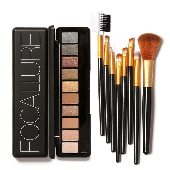 Focallure 10 Colour Nude/Warm Eyeshadow Palettes with 8pc Brush Set