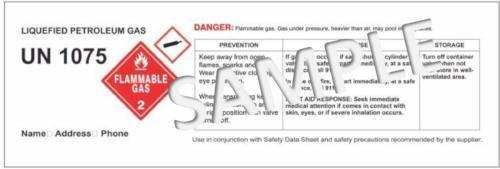 CUSTOMIZED LABEL for OSHA Regulations quantity of 15000