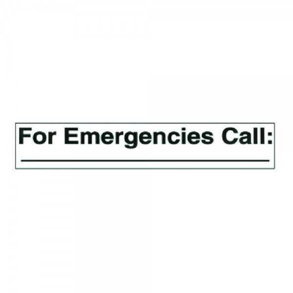 FOR EMERGENCIES CALL DECAL