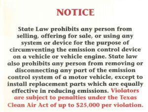 Limited Time Special!  Emissions Tampering Sign