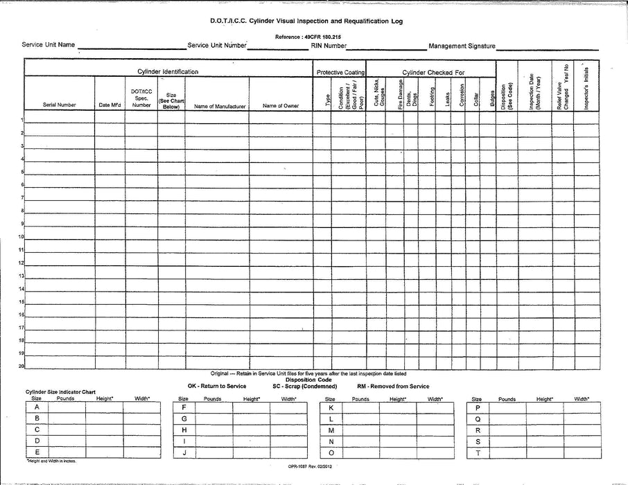 5-YEAR CYLINDER VISUAL INSPECTION REPORT PADS