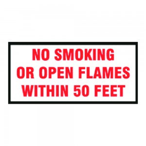 50 FEET OPEN FLAME WARNING DECAL RED ON WHITE