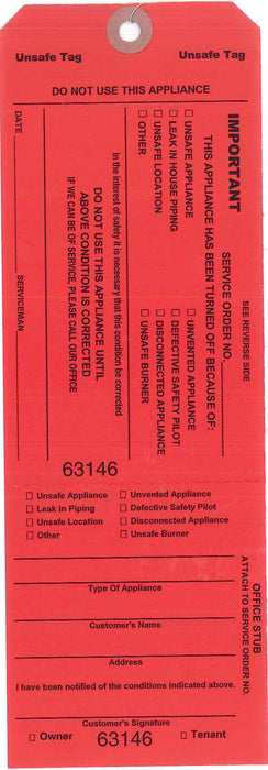 OUT-OF-GAS/UNSAFE CONDITIONS RED TAGS