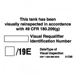 SINGLE INSPECTION DECAL for REQUALIFICATION