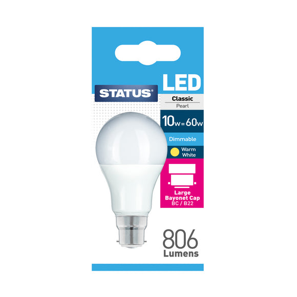 Status 10W LED GLS - B22-BC - Dimmable - Warm White (2700K) - (10SLDGBCP1PKB8)
