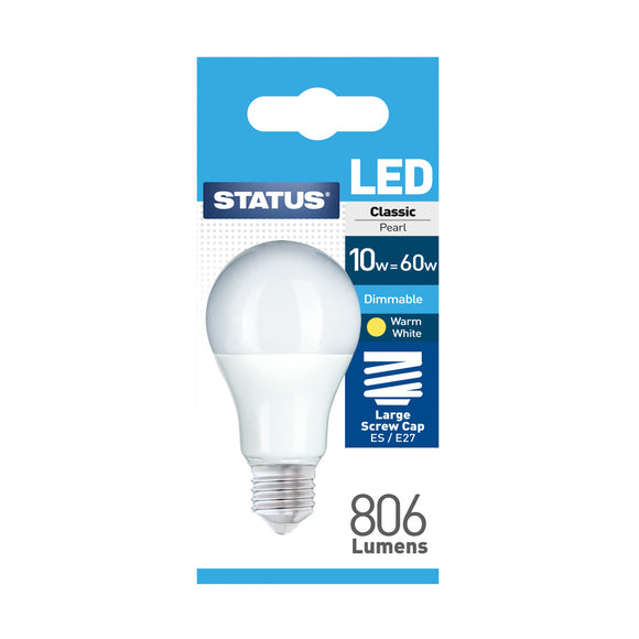 Status 10W LED GLS - E27-ES - Dimmable - Warm White (2700K) - (10SLDGESP1PKB8)