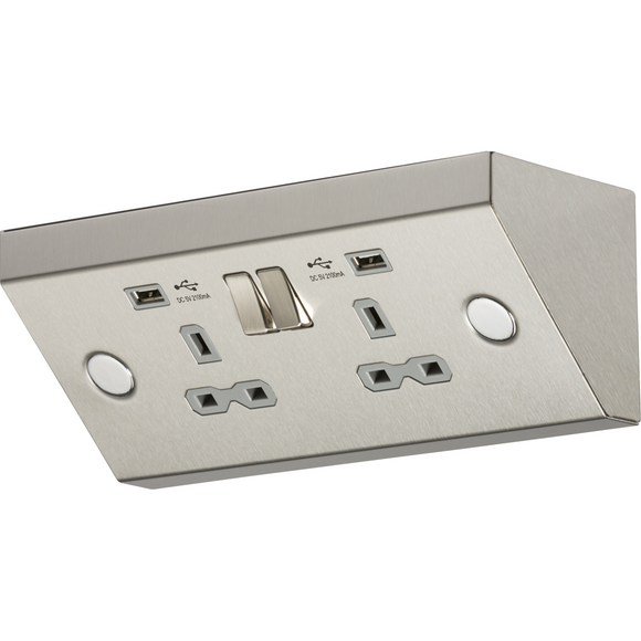 Knightsbridge 2 Gang 13A Work Top Socket with USB Charger  - Stainless Steel