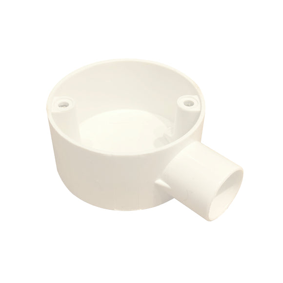 20mm PVC 1-Way Terminal Box - White (201W)