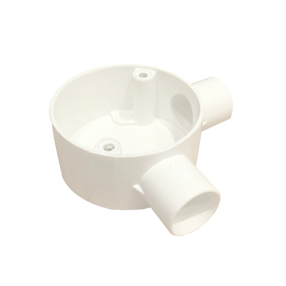 20mm PVC 2-Way Angle Box - White (202AW)