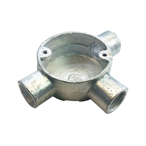 20mm Galvanised 3-Way T Box (203TG)