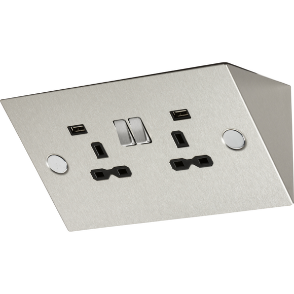 Knightsbridge 2 Gang Work Top Socket w/ USB Charger (2.4A) - Stainless Steel