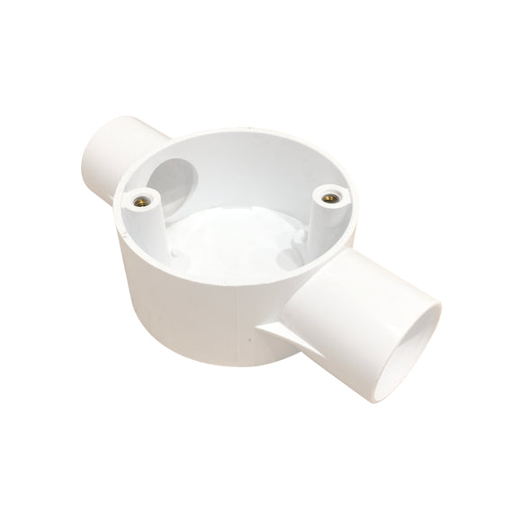 25mm PVC 2-Way Through Box - White (252W)