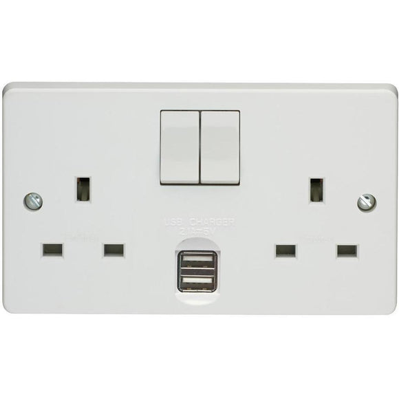 Crabtree 13A 2 Gang DP USB Socket (4306/USB/D) - BBEW
