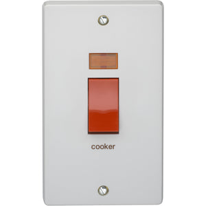 Crabtree 50A Double Pole Switch with Neon (Vertical) (4500/31) - BBEW
