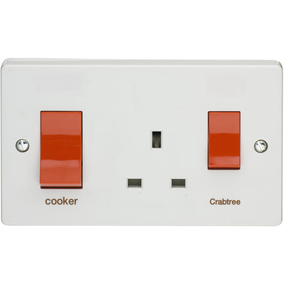 Crabtree 45A DP Main Switch and 13A Switch Socket Outlet (4521/1) - BBEW