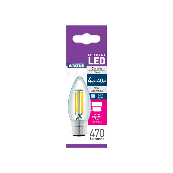 Status 4W LED Candle - B22-BC - Daylight (6500K) - (4SFCBCDL1PKB8)