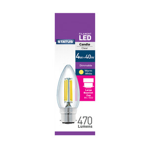 Status 4W LED Candle - B22-BC - Dimmable - Warm White (2700K) - (4SFDCBCC1PKB8)