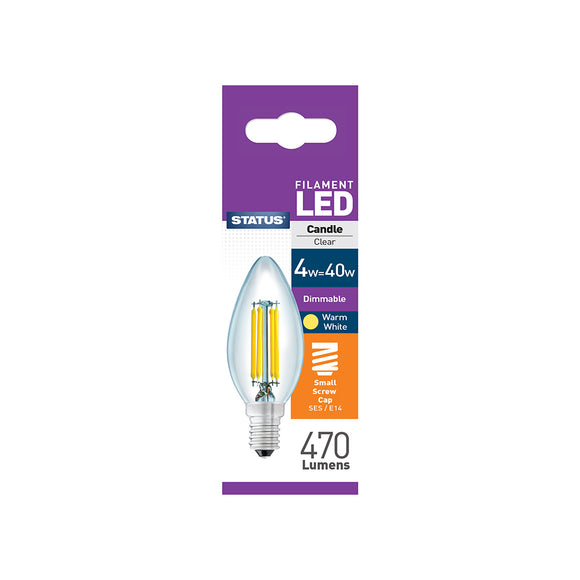 Status 4W LED Candle - E14-SES - Dimmable - Warm White (2700K) - (4SFDCSESC1PKB8)