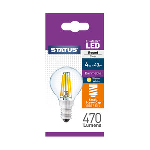 Status 4W LED Golf - E14-SES - Dimmable - Warm White (2700K) - (4SFDRSESC1PKB8)