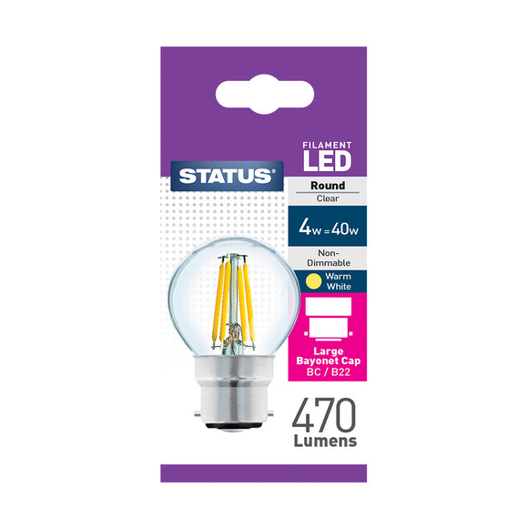 Status 4W LED Golf - B22-BC - Warm White (2700K) - (4SFRBCC1PKB8)