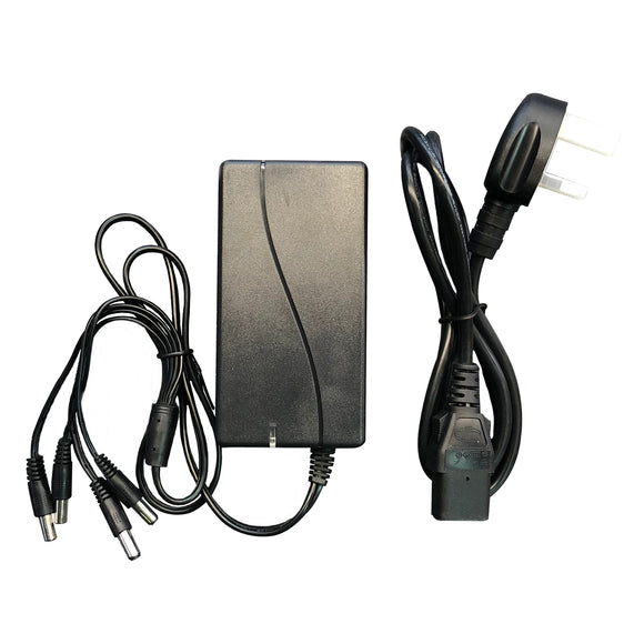 12V 5A 4-Way Power Supply with UK Mains Lead