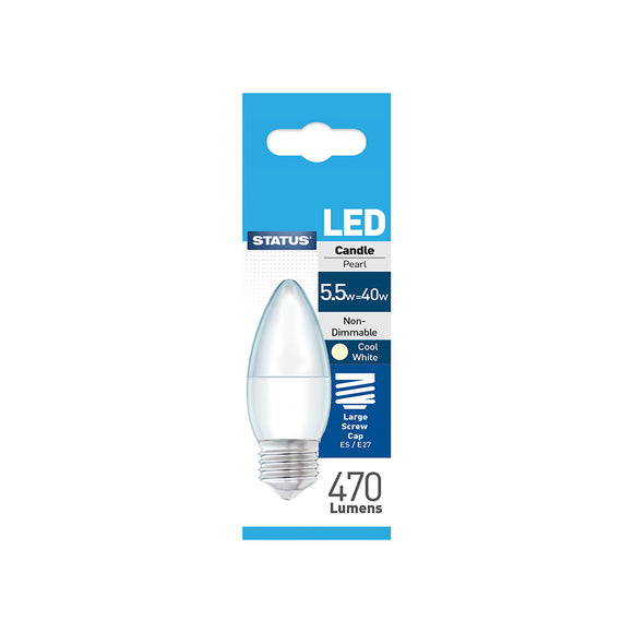 Status 5.5W LED Candle - E27-ES - Cool White (4000K) - (5.5SLCESCW1PKB8)