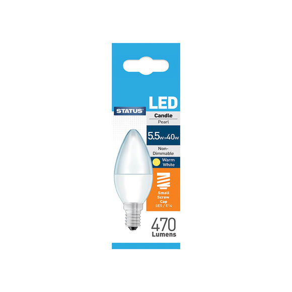 Status 5.5W LED Candle - E14-SES - Warm White (2700K) - (5.5SLCSESP1PKB8)
