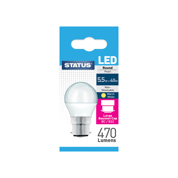 Status 5.5W LED Golf - B22-BC - Warm White (2700K) - (5.5SLRBCP1PKB8)