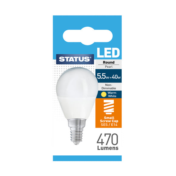 Status 5.5W LED Golf - E14-SES - Warm White (2700K) - (5.5SLRSESP1PKB8)