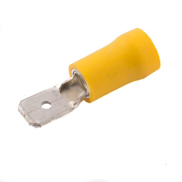 SWA 6.3mm Yellow Male Push-on Terminal Crimp - Pack of 100 (63YMP)