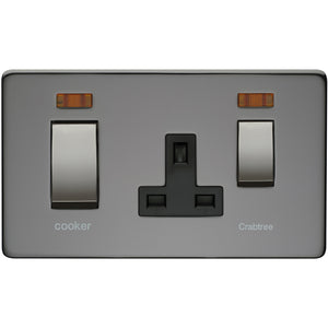 Crabtree Black Nickel 45A DP Main Switch and 13A Switch Socket Outlet with Neon (7521/3BKN) - BBEW