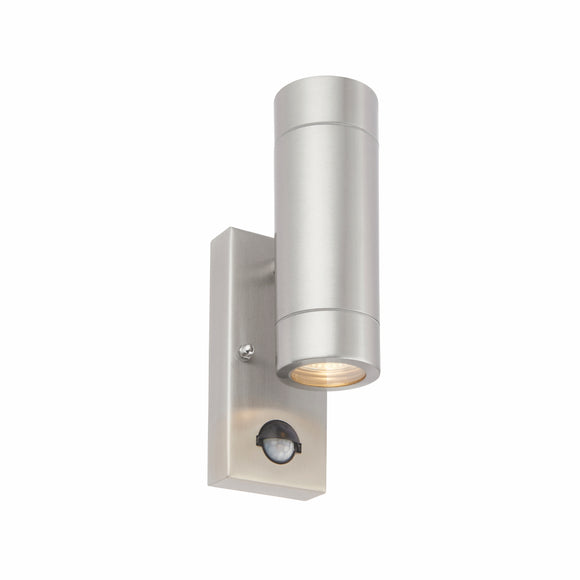 Palin PIR 2lt Wall IP44 7W - Brushed Steel (75430)