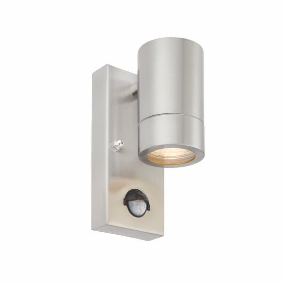 Palin PIR 1lt Wall IP44 7W - Brushed Steel (75431)