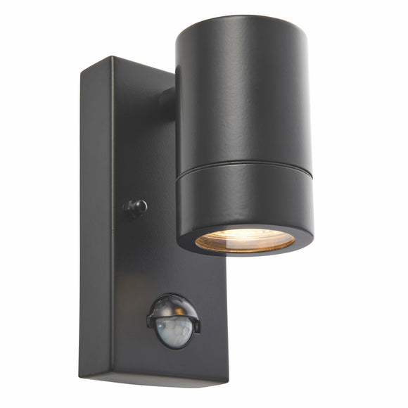 Palin PIR 1lt Wall IP44 7W - Matt Black (75435)