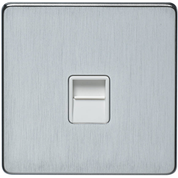 Crabtree Satin Chrome White Insert Secondary Telephone Socket (7783/SC/WH) - BBEW